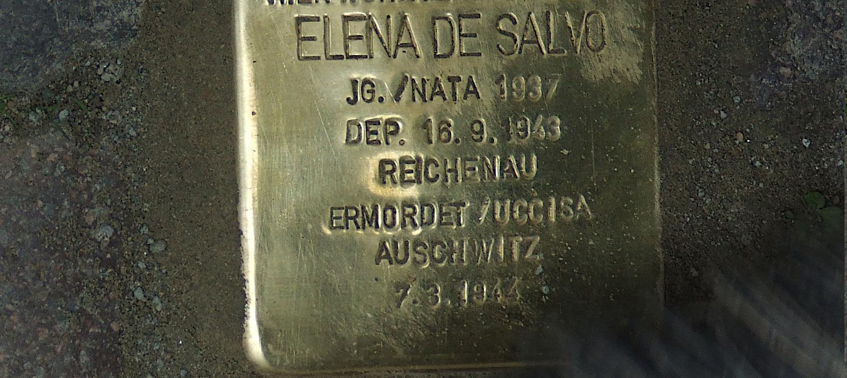 Pietra d'inciampo dedicata a Elena De Salvo. Merano. Foto P.F.